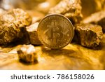 gold coin bitcoin. a mound of... | Shutterstock . vector #786158026