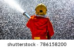 firefighter in fire fighting... | Shutterstock . vector #786158200