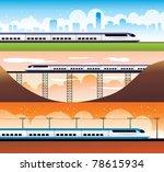modern trains vector... | Shutterstock .eps vector #78615934