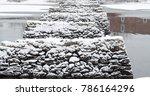 rock pylons in a river | Shutterstock . vector #786164296