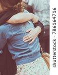 hug happy with a hug.happy to... | Shutterstock . vector #786164716