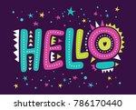 lettering hello  letters hello... | Shutterstock .eps vector #786170440