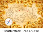 a lot of pirate golden coins on ... | Shutterstock .eps vector #786173440