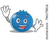 waving blueberry character... | Shutterstock .eps vector #786178816