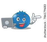 with laptop blueberry character ... | Shutterstock .eps vector #786179683