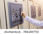 engineer is check voltage or... | Shutterstock . vector #786184753