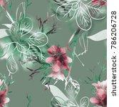 summer flowers seamless pattern.... | Shutterstock . vector #786206728