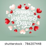 happy valentines day typography ... | Shutterstock .eps vector #786207448
