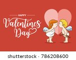 illustration of cupid girl and... | Shutterstock .eps vector #786208600