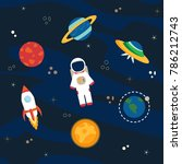 astronaut  planets and... | Shutterstock . vector #786212743