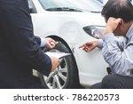 man agent filling insurance... | Shutterstock . vector #786220573