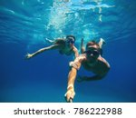 underwater selfie with a stick... | Shutterstock . vector #786222988