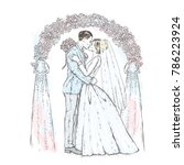 the bride in a suit and the... | Shutterstock .eps vector #786223924