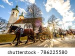 TUTZING, BAVARIA/GERMANY - DECEMBER 26: people at the traditional horse-carriage procession with blessing, named stefaniritt on december 26 2017 in tutzing - stock photo