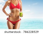 fit woman in a red bikini... | Shutterstock . vector #786228529