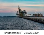 singapore industrial port dusk  ... | Shutterstock . vector #786232324