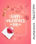 happy valentines day card with... | Shutterstock .eps vector #786237394