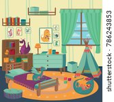 playing room for boy with... | Shutterstock .eps vector #786243853