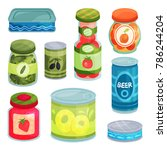 canned goods  tinned food in a... | Shutterstock .eps vector #786244204