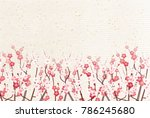 Stock vector plum blossoms japanese paper spring background 786245680