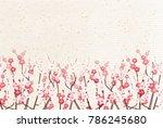 plum blossoms japanese paper... | Shutterstock .eps vector #786245680