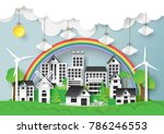 green eco friendly city on... | Shutterstock .eps vector #786246553