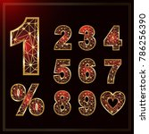 numbers gold set in polygon... | Shutterstock .eps vector #786256390