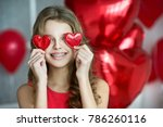 valentine's day. beautiful girl ... | Shutterstock . vector #786260116