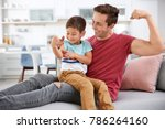 father and his little son...   Shutterstock . vector #786264160