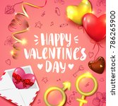 happy valentines day card with... | Shutterstock .eps vector #786265900