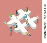 hashtag flat isometric vector... | Shutterstock .eps vector #786266110