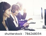 employee operator young asians... | Shutterstock . vector #786268054