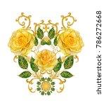 stylized golden shiny flowers... | Shutterstock . vector #786272668