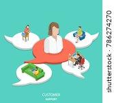 customer support flat isometric ...   Shutterstock . vector #786274270