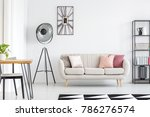 All White Room With Grey Sofa ...