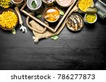 various canned fruits ... | Shutterstock . vector #786277873