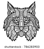 Hand Drawn Lynx Head Animal...