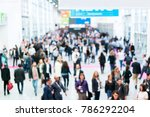 blurred people at a trade fair... | Shutterstock . vector #786292204