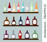 set of alcohol drinks on the... | Shutterstock .eps vector #786299113