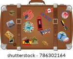 traveler suitcase with stickers | Shutterstock .eps vector #786302164