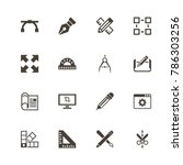blueprint icons. perfect black... | Shutterstock .eps vector #786303256