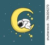 baby astronaut sleeps on... | Shutterstock .eps vector #786304270