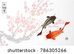 black and red koi carps on... | Shutterstock .eps vector #786305266