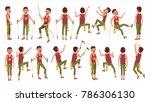 rock climber boy set  vector.... | Shutterstock .eps vector #786306130