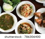 papaya salad with shrimp ... | Shutterstock . vector #786306400