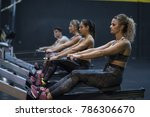 women training rowing in gym... | Shutterstock . vector #786306670