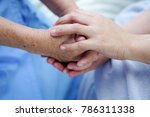 Small photo of Holding hands Asian senior or elderly old lady woman patient with love, care, encourage and empathy at nursing hospital