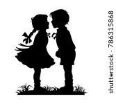 silhouette of kids kissing | Shutterstock .eps vector #786315868