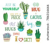 cacti and hand written... | Shutterstock .eps vector #786316666