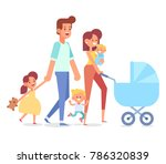 family together on the walk.... | Shutterstock .eps vector #786320839